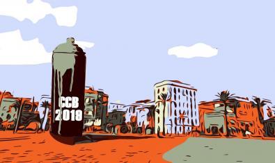 El cartel de la exposición muestra un paisaje de la Barceloneta con un gran espray de pintura en primer término