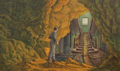 'El descubrimiento del espeleólogo', de Juan Antonio Mañas, una de las obras de la exposición