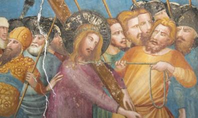 A closer look at one of the wall paintings on display in the chapel