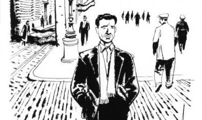 Una de las ilustraciones sobre Miguel Núñez que forman parte de la exposición