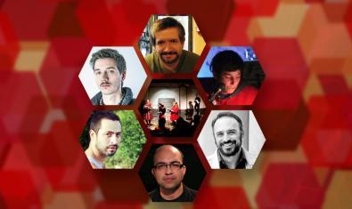 Collage amb els retrats dels escriptors que participen al cicle