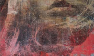 'El aire de tono dorado', mixta sobre tela, 97 × 92 cm de Dominika Berger