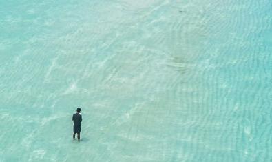 Un home sol passeja per una platja en una imatge al·legòrica que fa referència al tema de l'obra
