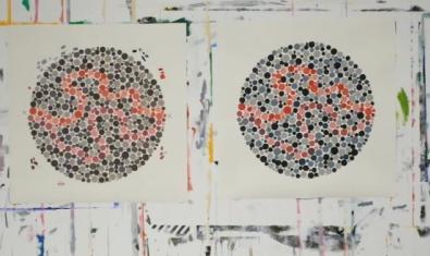 Dos dels cercles plens de punts de colors que es fan servir per detectar el daltonisme