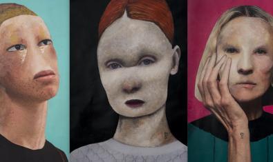 Tres de los retratos de seres monstruosos que forman parte de la exposición