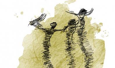 Cartell que anuncia l'espectacle amb un dibuix esquemàtic a llapis de tres figures amb els braços alçats