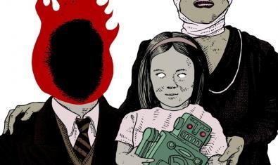 Dibuix d'una família amb el pare amb el cap en flames la mare amb la testa embenada i una nena amb un robot de joguina a les mans
