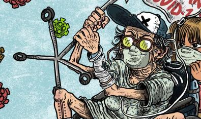 Portada del número gratuito recién editado con dos personajes montados en una moto y rodeados de virus de la Covid-19
