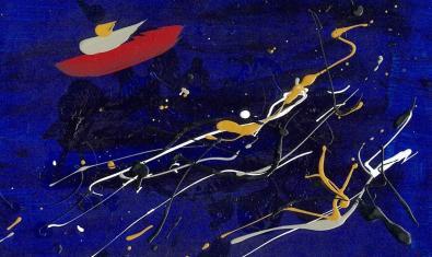 Una de les obres abstractes de l'artista realitzades amb la tècnica del dripping