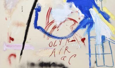 Una de las obras abstractas del artista que se pueden ver en la exposición