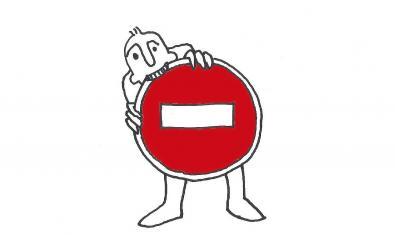 Dibuix d'un home que mossega un senyal de tràfic que indica prohibició
