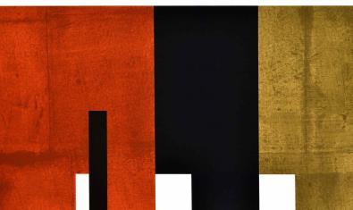 Una de les obres d'art concret d'Adolfo Estrada que mostra figures geomètriques negres i vermelles de contorns ben definits