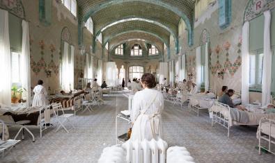 Fotografia de Robert Ramos del rodatge d''Incerta glòria' a l'Hospital de Sant Pau