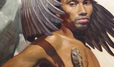 Un fragment d'aquesta obra que mostra un home nu amb unes ales i una serp pujant-li pel pit