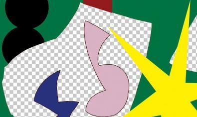 Un fragmento de una obra abstracta que se puede ver en la exposición y que muestra formas diversas de colores vivos