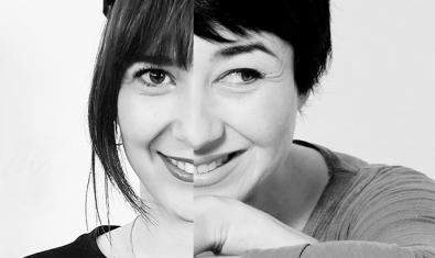 Los rostros de las dos protagonistas principales fusionados en uno solo en un montaje fotográfico