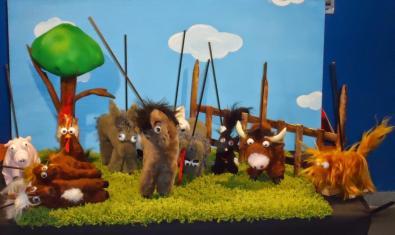 Fotografía de los animales de peluche que salen en la obra