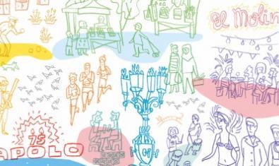 Un fragmento del cartel con dibujos que muestran a vecinos y establecimientos del barrio