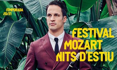 Cartell del Festival Mozart Nits d'Estiu, amb una imatge del clarinetista Andreas Ottensamer