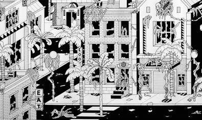 Una de las imágenes de ciudades del futuro imaginadas por el artista