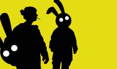 Dibujo con la silueta de dos actores disfrazados de conejo