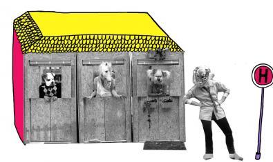 Cartel de uno de los espectáculo reprogramados que muestra un edificio habitado por animales