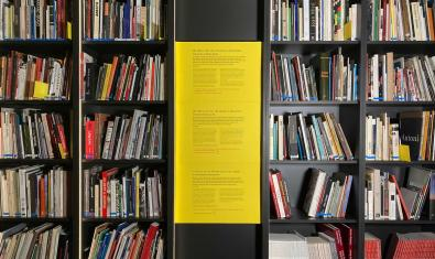 Intervenció d'Antònia del Río a la biblioteca de la Fundació Suñol