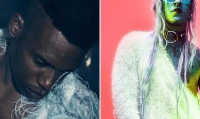 Doble retrato del productor Gaika a la izquierda y del rapero Mikki Blanco vestido de blanco y con el cabello largo a la derecha