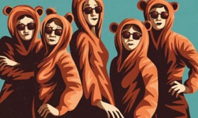 El cartell que anunciava l'espectacle mostra les cinc protagonistes amb ulleres de sol i amb disfresses d'ós de peluix