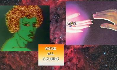 Cartel que anuncia la fiesta con el dibujo de una cabeza humana dos manos que se tocan con la punta de los dedos y un fondo de estrellas sobre el que se lee en inglés la frase Todos somos primos