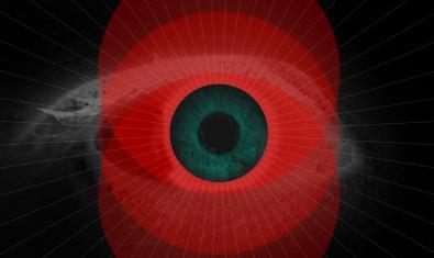 Fotografía de primer plan de un ojo humano con un toque de pintura