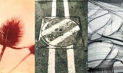 Un collage fotográfico muestra tres de las obras expuestas con un cardo, una tapa de cloaca y una imagen abstracta