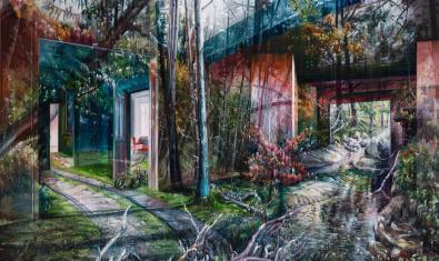 Uno de los paisajes surrealistas del autor donde se mezclan interiores e imágenes naturales