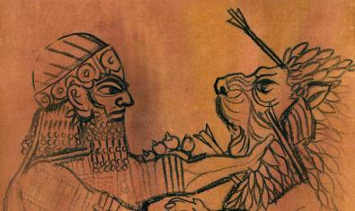 Cartel del espectáculo inaugural del Grec 2018 que muestra al rey Guilgamesh luchando contra un león