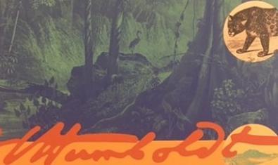 Uns dibuixos que mostren la fauna tropical sud-americana al cartell que anuncia l'exposició