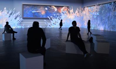 Visitants de l'exposició assistint a una projecció