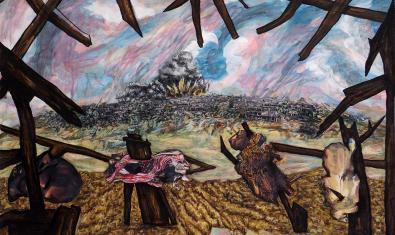 Una escena de guerra en una de las obres de la artista