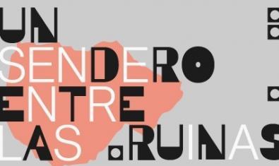 Un cartel con el título de la exposición en una composición tipográfica combinada con el perfil de una de las obras del artista