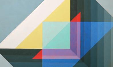 Fragmento de una de las obras de abstracción geométrica del artista
