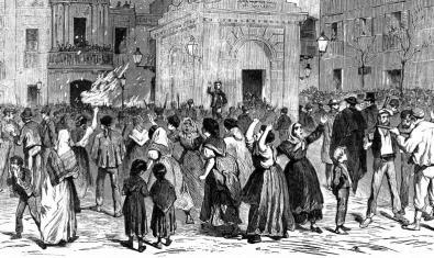 Una de les il·lustracions de l'exposició 150 anys de la Revolta de les Quintes