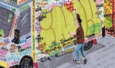 Una de les obres de l'exposició mostra un personatge pintant una furgoneta