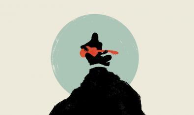 Dibuix d'una noia tocant una guitarra al cim d'una muntanya