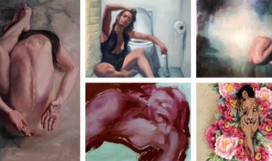 Un collage amb pintures i fotografies que formen part de l'exposició i que tenen la dona com a tema