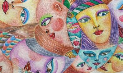 Una de las obras de la exposición realizada combinando diversos rostros de mujer