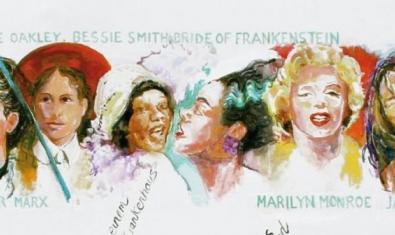 Una de las obras de Margaret Harrison con numerosos rostros femeninos que se pueden ver en la exposición