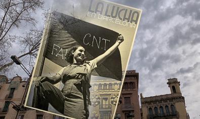 Muntatge d'una fotografia d'Antoni Campañà sobre la Barcelona actual, de Ricard Martínez