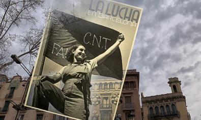 Montaje de una fotografía de Antoni Campañà sobre la Barcelona actual, de Ricard Martínez