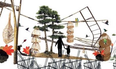 Una de las imágenes que se pueden ver en el jardín y que incluye dibujos de árboles y vegetación y de varias estructuras de mimbre