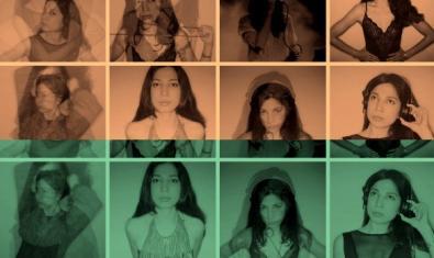 Collage fet amb retrats d'aquesta DJ vistos a través de filtres de colors diversos