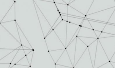 El dibuix d'una xarxa borrosa amb tot de punts units per línies serveix de cartell per a l'exposició